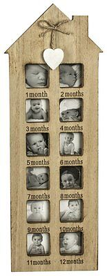 Wooden Photo Frame Babies First 12 Months Shabby Rustic Heart Baby Shower Gift