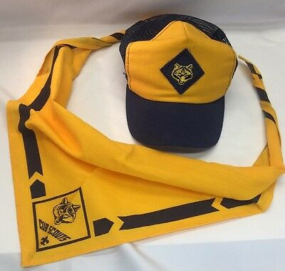 Vintage Cub Scouts Wolf Blue and Yellow Mesh Cap Size S/M and Yellow Scarf