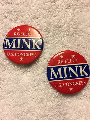 2 Vintage 1980s Hawaii US Congress Patsy Mink Political Campaign Pinback Buttons