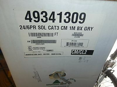 100 Ft CAT3 Solid 6 Pair 24 AWG Install Telephone,Alarm Cable Wire,NOS
