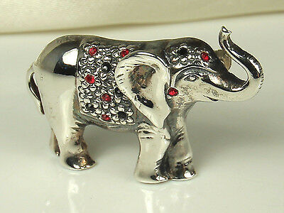 DETAILED 1960s Artisan STERLING ELEPHANT Pin~Glass RUBIES & ONYX~Fine Condition!