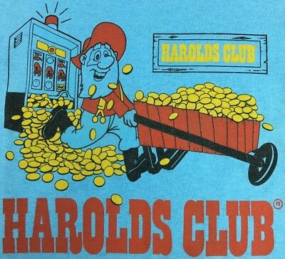 Harolds Club Reno Nevada Casino XL Blue T-Shirt Thin Vtg Prospector Slot Machine