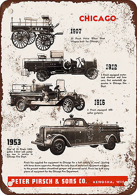 "7"" x 10"" Metal Sign - 1953 Pirsch Fire Trucks - Vintage Look Reproduction"