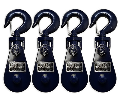 (4 pack) 4 Ton Snatch Block w/ Swivel Hook, Wire Rope Sheave Tow Shackle