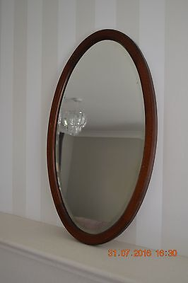 Edwardian Oval inlaid bevelled Wall Mirror 26 1/2x14 3/4 inches