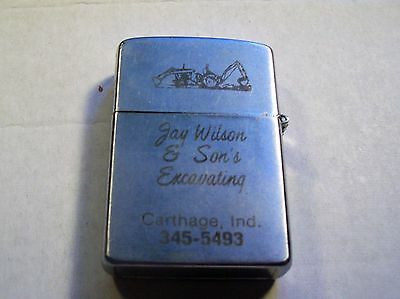 Used Unbranded Advertising Lighter Jay Wilson & Son's Excavating Carthage Ind