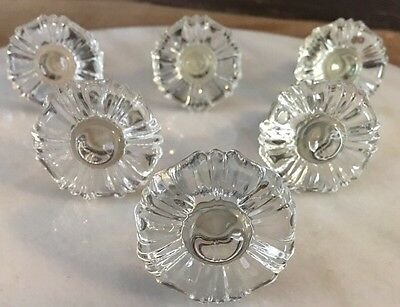 Lot of 6 Antique Crystal Glass Drawer Pulls Flower Design knobs brass fixtures