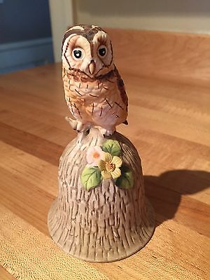"Vintage 4.50"" TOWLE  OWL Porcelain Bisque BELL Figurine, Fine Bone China"