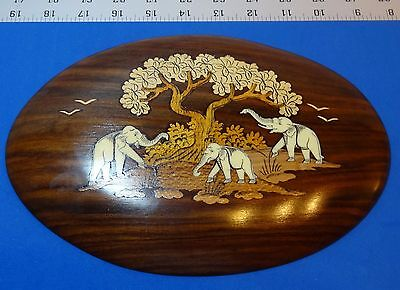 Wood Inlay India Hand Carved Elephants Safari Art Plaque Wall Hanging Oval