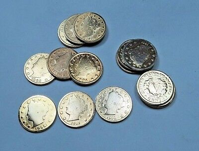 (5) Random Liberty V Nickel Lot // 24K Gold Plated // With Dates // 5 Coins
