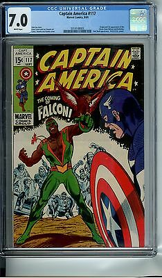 Captain America #117 Cgc 7.0 White Pages Origin And 1St App Of The Falcon