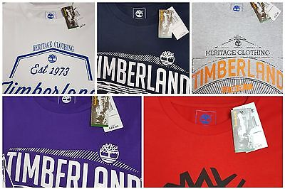 Timberland Mens T Shirt Top Front Logo Red Blue Grey White Purple S M L Xl