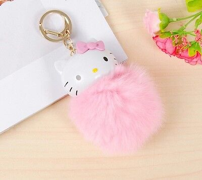 NEW 2017 1Pcs 10CM KeyChain Fluffy Hello Kitty Adorable Pink Doll With Key Hook
