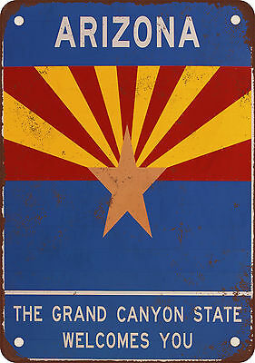 """7"""" x 10"""" Metal Sign - Arizona Welcomes You - Vintage Look Reproduction"""