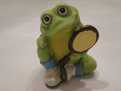 "*Vintage Ceramic Smiling Frog Figurine with Tennis Racket & Shoes 3"" Hand Painte"