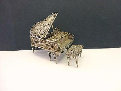Estate Baby GRAND PIANO & BENCH 800 Silver Filigree Wire Miniature Dollhouse