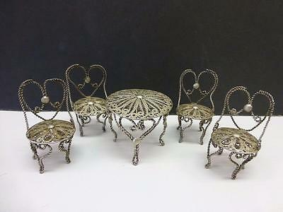 5pc Estate Table & Chair HEART Shap 800 Silver Filigree Wire Miniature Dollhouse