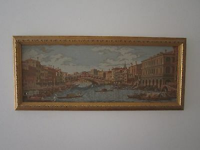 Exquisite Gold Framed Vintage Rialto Bridge Venice Scene Tapestry