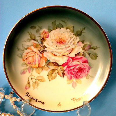 CT ALTWASSER Germany Hand Painted Large White Rose Charger Cabinet Plate c.1925