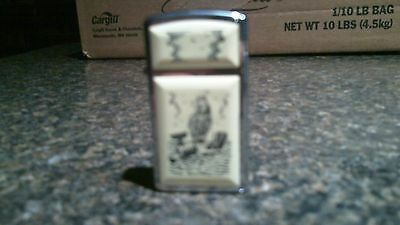 ZIPPO SLIM LIGHTER w/SHIP WHALING SCENE