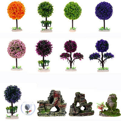 Fish Tank Plastic Decoration Aquarium Plants Water Grass Ornament Rockery Cave