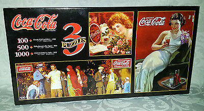 Coca Cola Puzzle Factory Sealed Warren Industries 1999 - 3 puzzles in 1 box NEW
