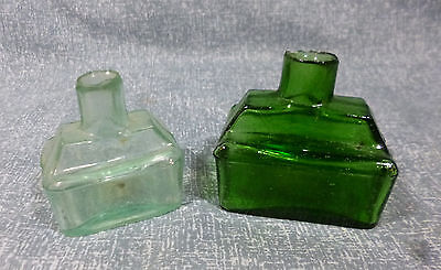 Two Early Schoolhouse Shear Top Ink Bottles with pen rests VGC