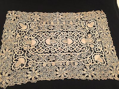 Antique Hand Crocheted Doilie Table Cover Ecru Ornate Detail