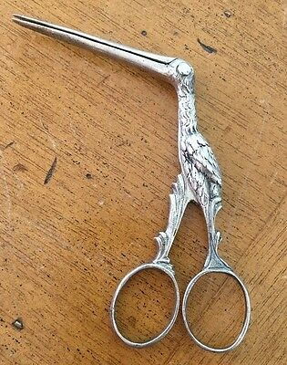 Antique Silver Stork Midwife Umbilical Scissor Clamp Ribbon Pullers Baby