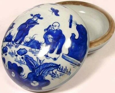 "19thC Antique China LG Blue + White ""Ming Style"" Porcelain Jewelry Cosmetic Box"