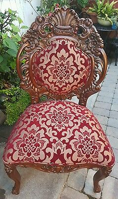 Carved Mahogany Rocaille Parlor Accent Chair Burgundy