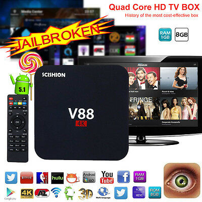 4K V88 Rockchip 3229 Quad-core 1G+8GB Android 6.0 Smart Wifi TV Box Media Player