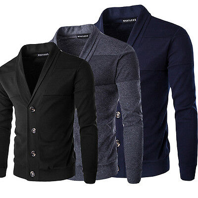 Fashion Mens Slim Fit V Neck Knitwear Pullover Cardigan Sweater Jacket Coat Tops