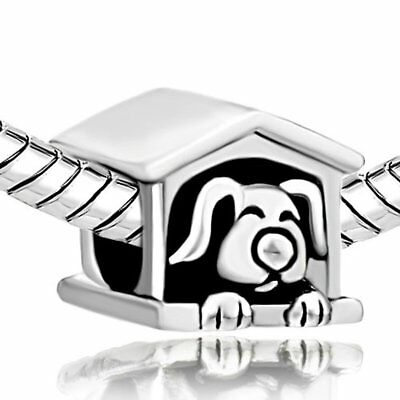 Silver Plated British English Bulldog with Golden Collar Animal Pandora Charm