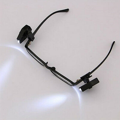 1 Pair Clip On Eyeglass Lights Flexible Reading Work LED Lamp For Eye Glasses