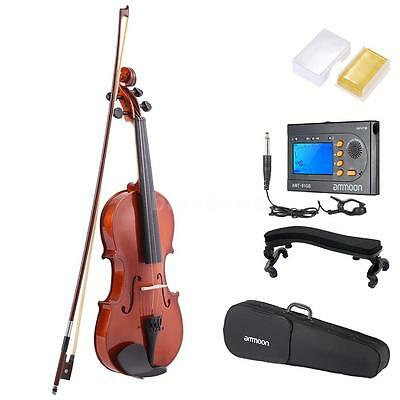 3/4 Natural Acoustic Violin for Music Lovers with Tuner Shoulder Rest R9E7