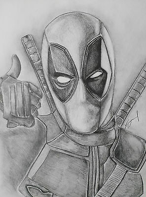 DEADPOOL MARVEL 11x14in Pencil Drawing Original Signed Picture