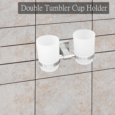 Double Glass Holder Wall Mount for Toothpaste Tooth Brush Bathroom Lavatory