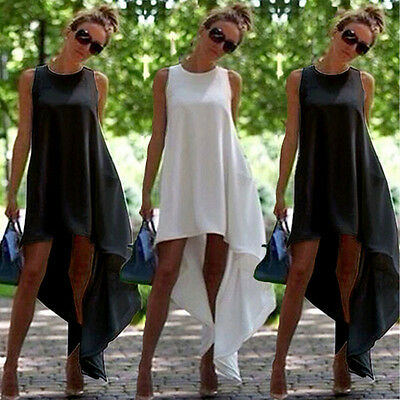 Women Fashion Beach Hippie Casual Asymmetrical Hem Round Neck Sleeveless Dress