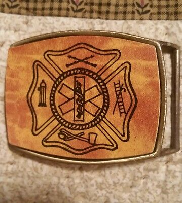 FIRE RESCUE Vintage Maco Brass &  Leather Belt Buckle RARE! NEW!