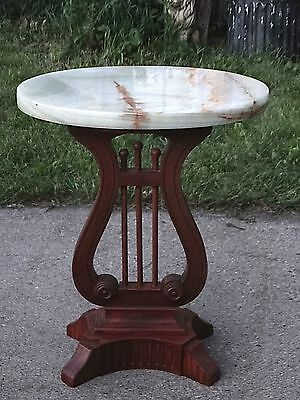 Federal Duncan Phyfe Harp Shape footed Antique Mahogany Onyx Marble top Table