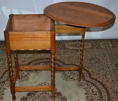 Antique Barley Twist Open Top Oval Coffee Side Table - Free Shipping [PL2543]