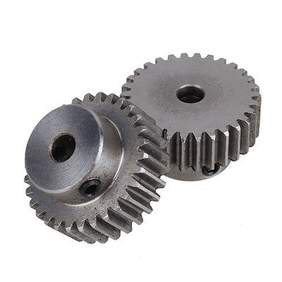 New 2Pcs Module 1 30 Teeth 6mm Hole Diameter Steel Metal Motor Gear For Hardware
