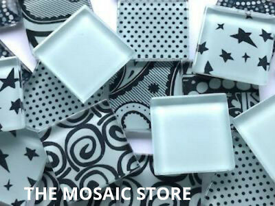 Handmade Light Blue Glass Mosaic Tiles 2.5cm - Supplies Art Craft