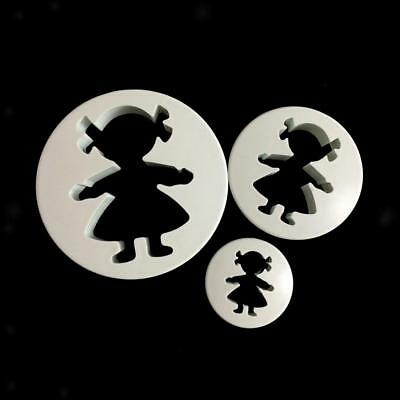 3 Piece Plastic Girls Mould Fondant Cake Decorating Plunger Cutter Mold