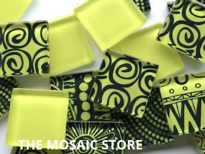 Handmade Bright Yellow Mosaic Glass Tiles - Art Craft Supplies