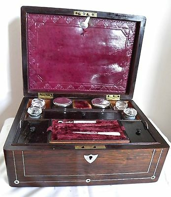 Antique Rosewood Inlaid Mother of Pearl Vanity Dressing Box with Fitted Interior