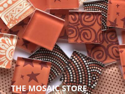 Handmade Orange Glass Mosaic Tiles 2.5cm - Art Craft & Supplies