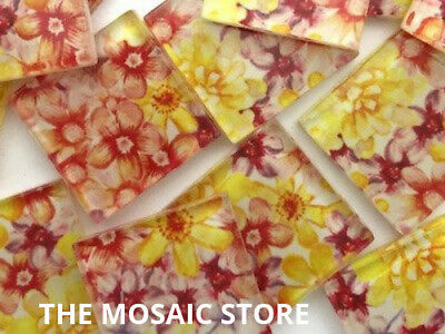 Patterned Handmade Glass Mosaic Tiles 2.5cm - Art Craft Supplies