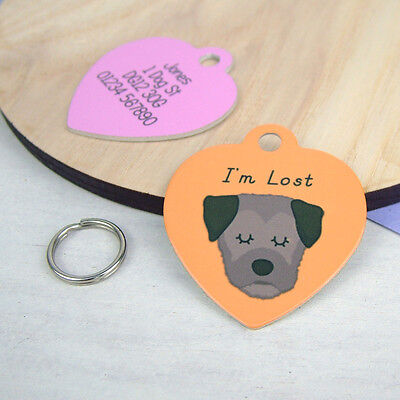 Border Terrier Dog ID Tag - FREE Personalisation -  Collar Pet Tag - HEART